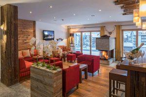 Lobby in unserem Hotel in Zermatt